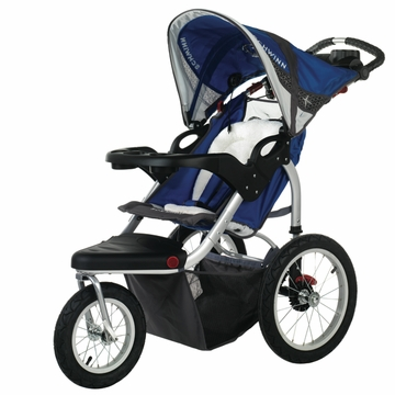 Schwinn Turismo Swivel Jogging Stroller-Single Blue/Gray