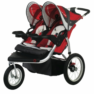Schwinn Turismo Swivel Jogging Stroller-Double Red/Gray