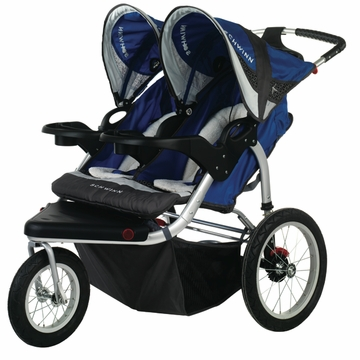 Schwinn Turismo Swivel Jogging Stroller-Double Blue/Gray