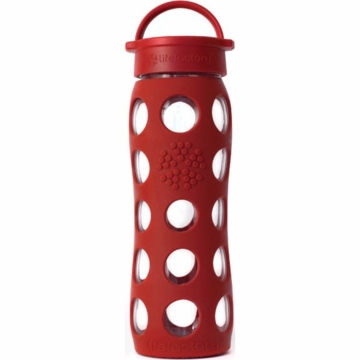 Lifefactory Glass Bottle with Classic Loop Cap & Silicone Sleeve 22 oz in Red