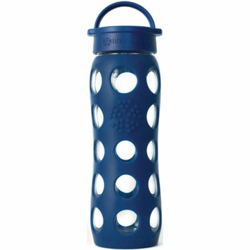 Lifefactory Glass Bottle with Classic Loop Cap & Silicone Sleeve 22 oz in Midnight Blue