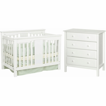 DaVinci Annabelle Mini Convertible Crib & Roxanne 4 Drawer Dresser 2 Piece Nursery Set in White