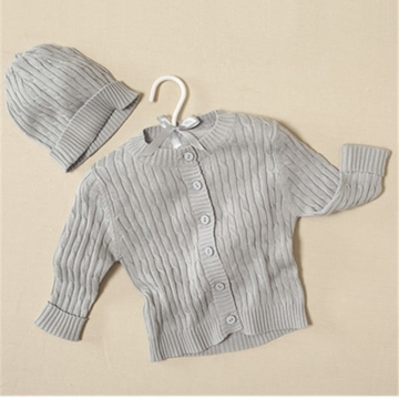 Elegant Baby Cable Sweater & Hat Grey - 6 Months