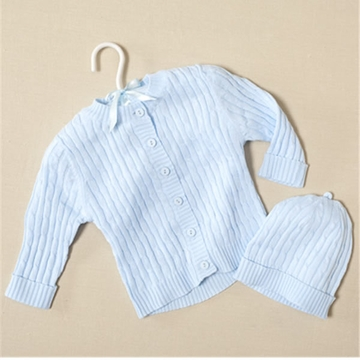 Elegant Baby Cable Sweater & Hat Blue - 6 Months