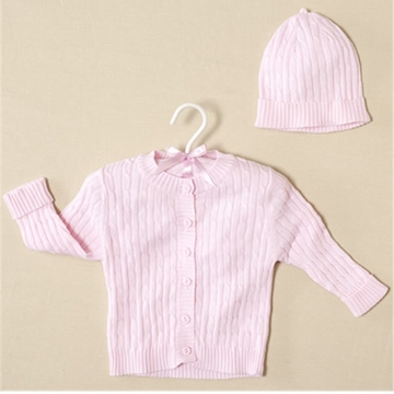Elegant Baby Cable Sweater & Hat Pink - 12 Months