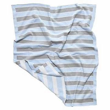 Elegant Baby Striped Blanket 12GG Blue & Grey