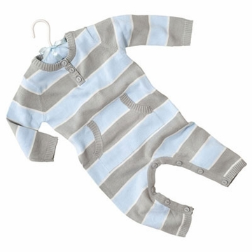 Elegant Baby Striped Jumpsuit 12GG Blue & Grey - 6 Months