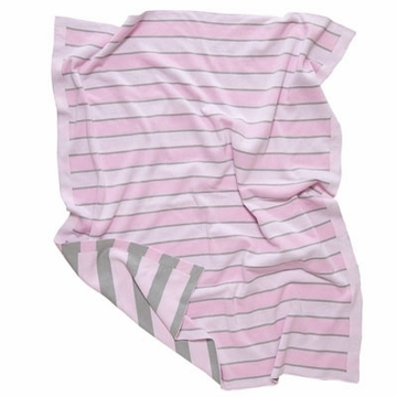 Elegant Baby Striped Blanket 12GG Pink & Grey