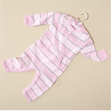 Elegant Baby Striped Jumpsuit 12 GG Pink & Grey - 12 Months