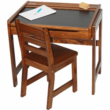 Lipper International Child's Chalkboard Desk and Chair Set - Walnut