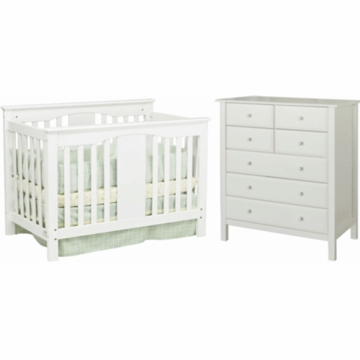 DaVinci Annabelle Mini Convertible Crib & Roxanne 6 Drawer Dresser 2 Piece Nursery Set in White