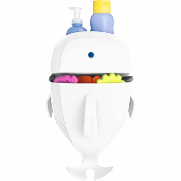 Boon WHALE POD Bath Toy Scoop, Drain, & Storage - White