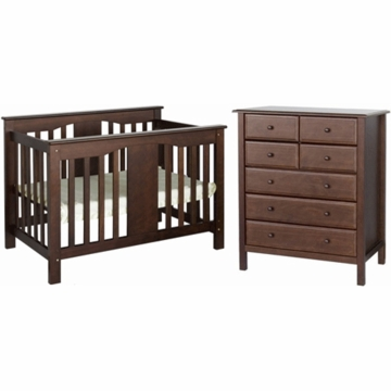 DaVinci Annabelle Mini Convertible Crib & Roxanne 6 Drawer Dresser 2 Piece Nursery Set in Espresso