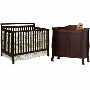 DaVinci Charleston 4 in 1 Convertible Crib with Toddler Rail & Parker 2 Door Changer 2 Piece Nursery Set in Coffee