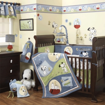 Lambs & Ivy Vintage Snoopy 6 Piece Crib Bedding Set