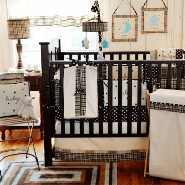 My Baby Sam Mad About Plaid in Blue 4 Piece Crib Bedding Set