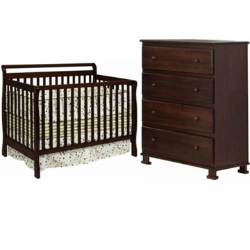 DaVinci Charleston 4 in 1 Convertible Crib with Toddler Rail & Parker 4 Drawer Dresser 2 Piece Nursery Set in Coffee