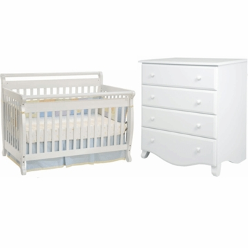 DaVinci Emily 4 in 1 Convertible Crib & 4 Drawer Dresser 2 Piece Nursery Set in White