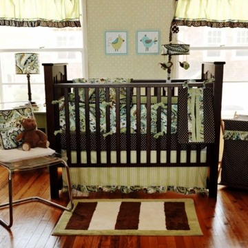 My Baby Sam Paisley Spash Lime 3 Piece Crib Bedding Set