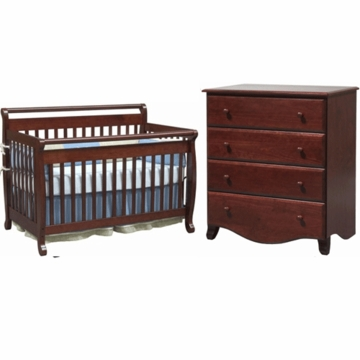 DaVinci Emily 4 in 1 Convertible Crib & 4 Drawer Dresser 2 Piece Nursery Set in Cherry