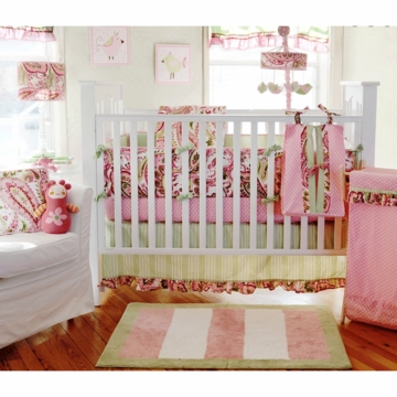 My Baby Sam Paisley Splash Pink 3 Piece Crib Bedding Set