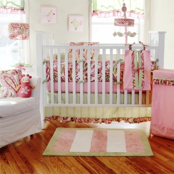 My Baby Sam Paisley Splash in Pink 4 Piece Crib Bedding Set
