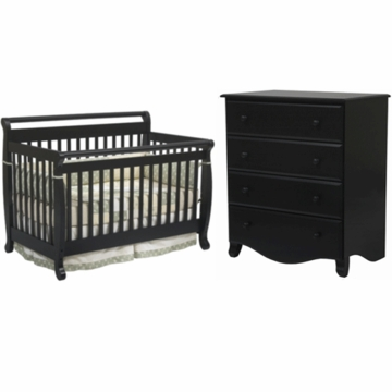 DaVinci Emily 4 in 1 Convertible Crib & 4 Drawer Dresser 2 Piece Nursery Set in Ebony