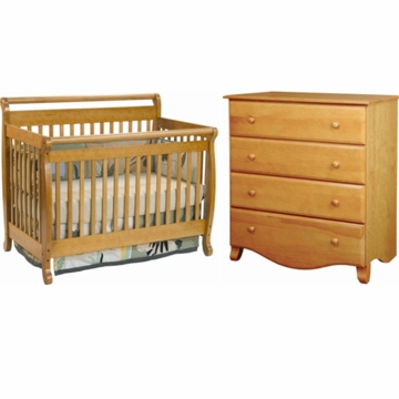 DaVinci Emily 4 in 1 Convertible Crib & 4 Drawer Dresser 2 Piece Nursery Set in Oak