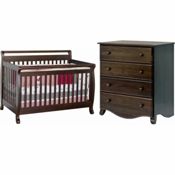 DaVinci Emily 4 in 1 Convertible Crib & 4 Drawer Dresser 2 Piece Nursery Set in Espresso