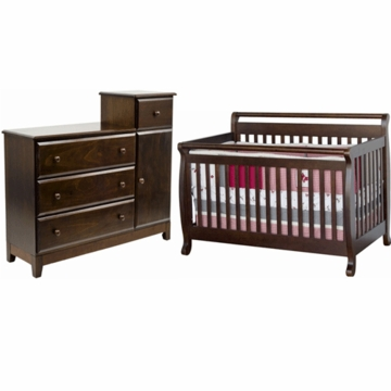DaVinci Emily 4 in 1 Convertible Crib & Combo Dresser/Changer 2 Piece Nursery Set in Espresso