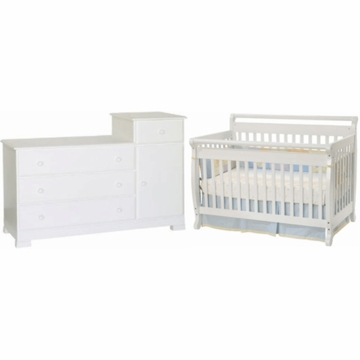 DaVinci Emily 4 in 1 Convertible Crib & Kalani Combo Changer/Dresser 2 Piece Nursery Set in White