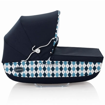 Inglesina Classica Bassinet with Diaper Bag in Arglye Blue