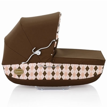 Inglesina Classica Bassinet with Diaper Bag in Arglye Pink