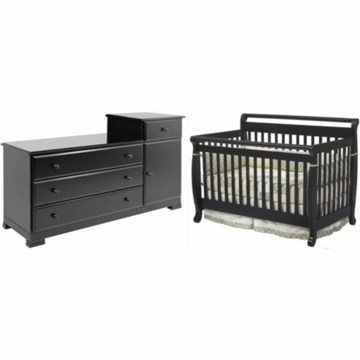 DaVinci Emily 4 in 1 Convertible Crib & Kalani Combo Changer/Dresser 2 Piece Nursery Set in Ebony
