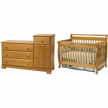 DaVinci Emily 4 in 1 Convertible Crib & Kalani Combo Changer/Dresser 2 Piece Nursery Set in Oak