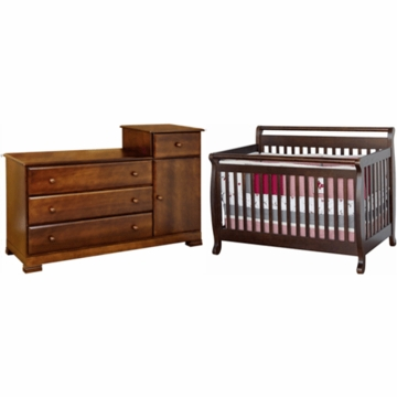 DaVinci Emily 4 in 1 Convertible Crib & Kalani Combo Changer/Dresser 2 Piece Nursery Set in Espresso
