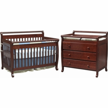 DaVinci Emily 4 in 1 Convertible Crib with Toddler Rail & 3 Drawer Changer 2 Piece Nursery Set in Cherry with FREE Mattress