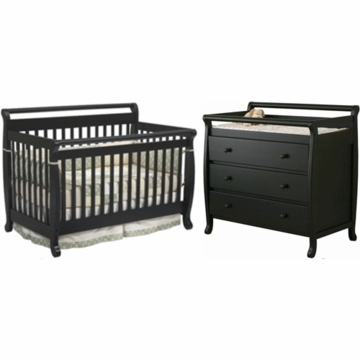 DaVinci Emily 4 in 1 Convertible Crib with Toddler Rail & 3 Drawer Changer 2 Piece Nursery Set in Ebony