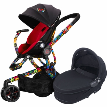 Quinny Britto Moodd Stroller & Bassinet - Red/Black