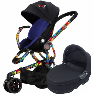 Quinny Britto Moodd Stroller & Bassinet - Blue/Black