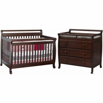 DaVinci Emily 4 in 1 Convertible Crib with Toddler Rail & 3 Drawer Changer 2 Piece Nursery Set in Espresso