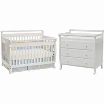 DaVinci Emily 4 in 1 Convertible Crib with Toddler Rail & 3 Drawer Changer 2 Piece Nursery Set in White