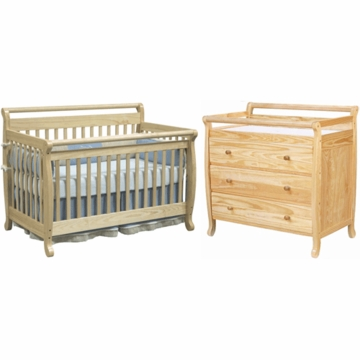 DaVinci Emily 4 in 1 Convertible Crib with Toddler Rail & 3 Drawer Changer 2 Piece Nursery Set in Natural
