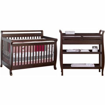 DaVinci Emily 4 in 1 Convertible Crib with Toddler Rail & Sleigh Changing Table 2 Piece Nursery Set in Espresso