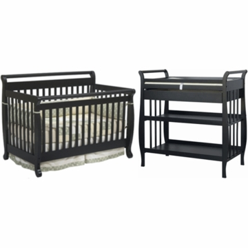 DaVinci Emily 4 in 1 Convertible Crib with Toddler Rail & Sleigh Changing Table 2 Piece Nursery Set in Ebony