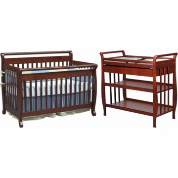 DaVinci Emily 4 in 1 Convertible Crib with Toddler Rail & Sleigh Changing Table 2 Piece Nursery Set in Cherry