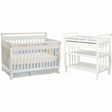 DaVinci Emily 4 in 1 Convertible Crib with Toddler Rail & Sleigh Changing Table 2 Piece Nursery Set in White
