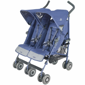 Maclaren Twin Techno Double Stroller 2011 Crown Blue on Crown Blue Frame