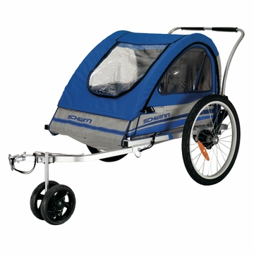 Schwinn Trailblazer Bicycle Trailer-Double Blue/Gray