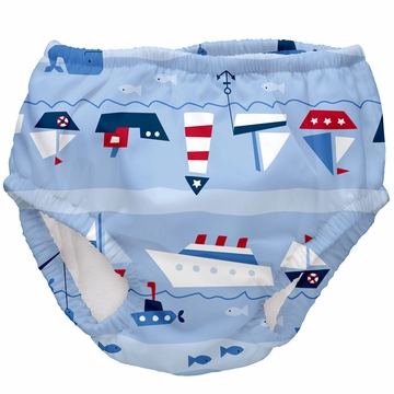 iPlay Ultimate Swim Diaper - Classics Light Blue Boat Parade - Medium (12 mo)
